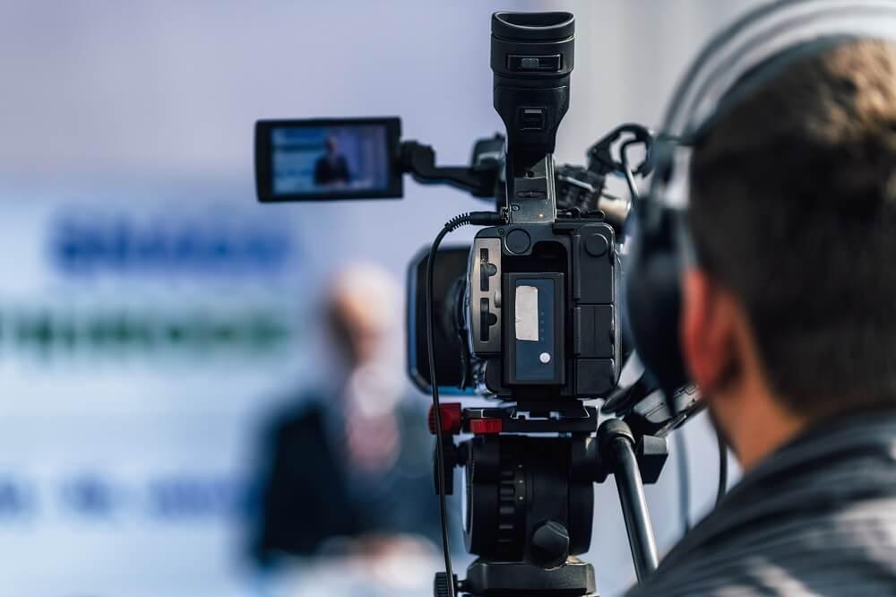 man using a professional video streaming platform