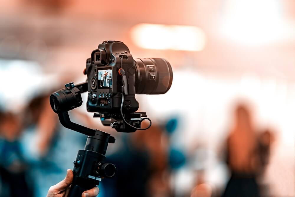 video camera live streaming an event