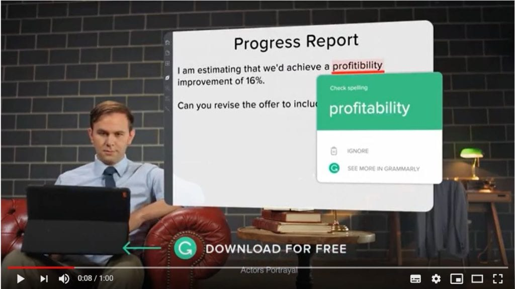 grammarly instream ad video